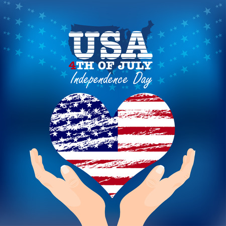 Creative Fourth of July Independence Day Poster. USA Flag In Form Of Heart. Vector Illustration. Illustration