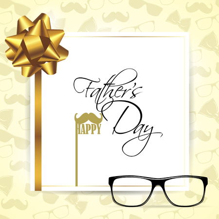 Happy Fathers Day Template Greeting Card. Happy Fathers Day Concept with glasses, mustache, ribbon and bow on bright background. Vector Illustration.