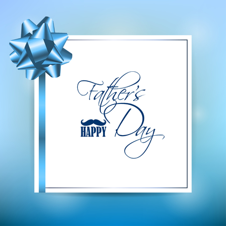 Happy Fathers Day Template Greeting Card. Happy Fathers Day Concept with mustache, ribbon and bow on bright background. Vector Illustration.