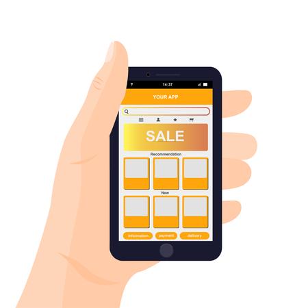 Vector mobile app interface design. Hand holding smartphone. e-commerce mobile website concept. Illustration