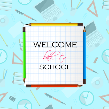 Back to School Title Words on Paper Note. Realistic School Items With Colored Pencils, Laptops, Pens and Rulers on a Blue Background. Vector Illustration Illustration