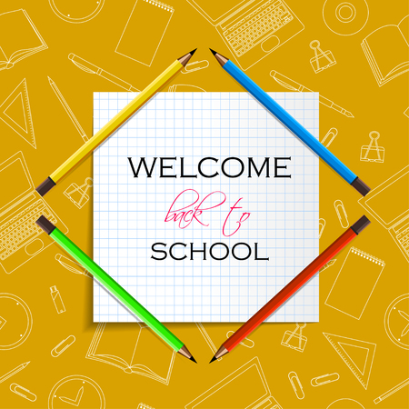 Back to School Title Words on Paper Note. School Items outline With Pencils, Laptops, Pens and Rulers on a Yellow Background. Vector Illustration
