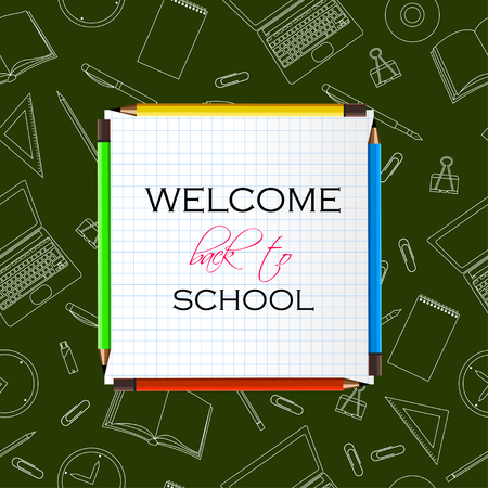 Back to School Title Words on Paper Note. School Items outline With Pencils, Laptops, Pens and Rulers on a Green Background. Vector Illustration Illustration