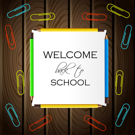 Back to School Title Words on Paper Note. Wooden Background with Colored Pencils and Clips. Vector Illustration