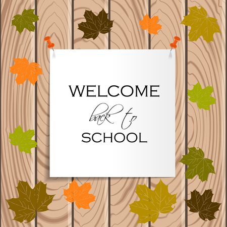 Back to School Title Words on Paper Note. Wooden Background with Colored Leaves. Illustration