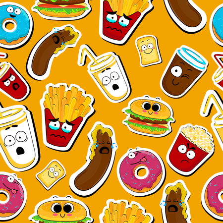 Cartoon fast food cute character seamless faces vector illustration. Funny face icon collection. Cartoon face food emoji. Fast food emoticons. Funny food sticker.