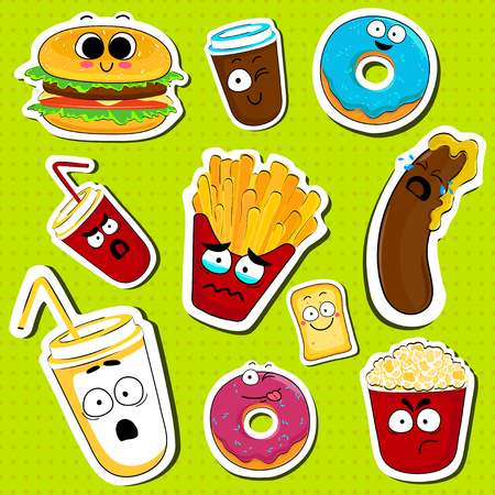 Cartoon fast food cute character face isolated vector illustration. Funny face icon collection. Cartoon face food emoji. Fast food emoticons. Funny food sticker. Illustration