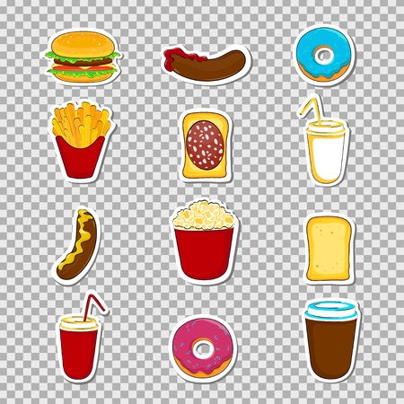 junk: Fast food cartoon stickers and pathces. Vector illustration.