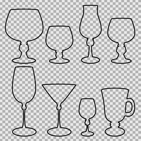 Set of wine glasses black silhouette. Vector illustration. Illustration