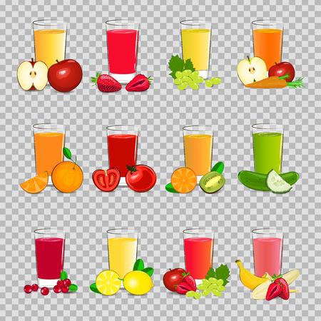 Set of vector illustration of fresh fruit and vegetable juice