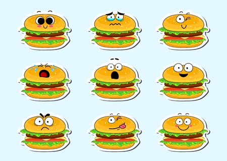 Cartoon burger cute character face isolated vector illustration. Funny face icon collection. Cartoon face food emoji. Burger emoticon. Funny food sticker.