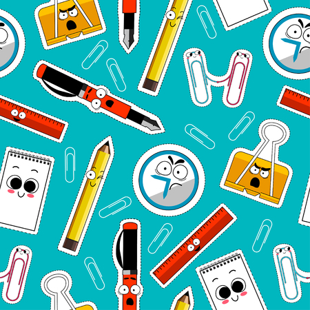 Back To School Seamless Background. Office and School suppllies colored vector. Cartoon Funny Emoticons. Vector. Illustration