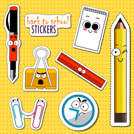 Back To School Stickers. Office and School suppllies colored vector. Cartoon Funny Emoticons. Vector. Çizim