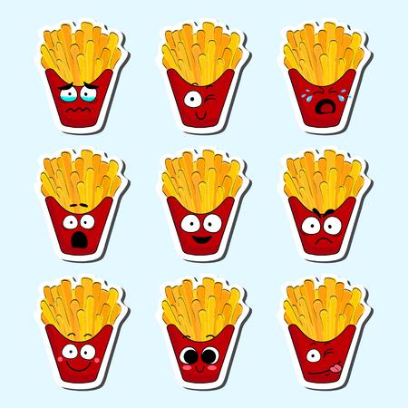 Il fumetto frigge il fronte sveglio del carattere isolato l'illustrazione di vettore. Collezione di icone divertenti faccia. Emoji di cibo faccia dei cartoni animati. Emoticon di patatine fritte. Adesivo cibo divertente.