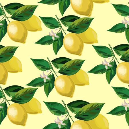 Fresh Lemon with leaves. Vector lemon Seamless Background.
