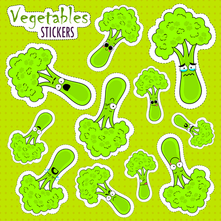 Cartoon broccoli cute character face isolated vector illustration. Funny vegetable face icon collection. Cartoon face food emoji. Broccoli emoticon. Funny food sticker. Illustration