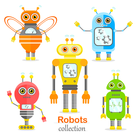 Set of vector robots in cartoon style. Isolated vector robots in a white background Illustration