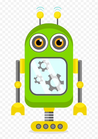 Green Cheerful Cartoon Robot Character With Two Antennas and Plot. Isolated vector robot on transparent background.