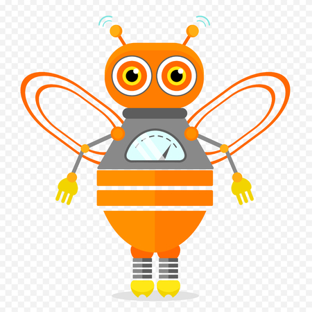 Orange Friendly Cartoon Bee Robot Character. Isolated vector robot on transparent background.