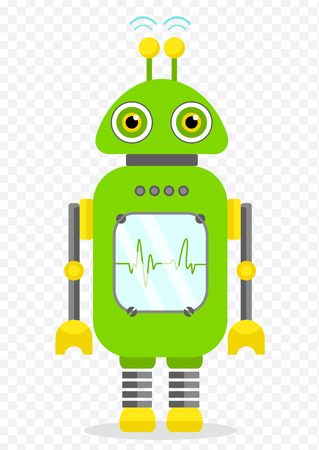 Green Cheerful Cartoon Robot Character With Two Antennas and Plot. Isolated vector robot on transparent background. Illustration