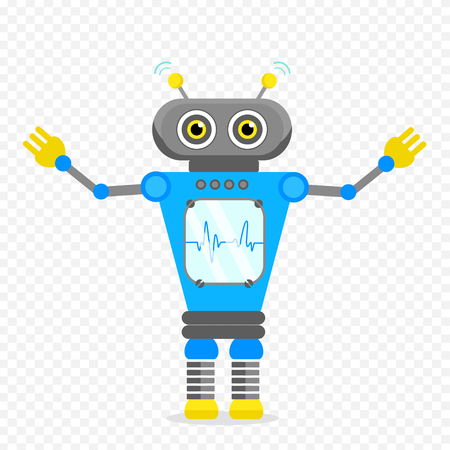 Blue Cheerful Cartoon Robot Character With Two Antennas and Plot. Isolated vector robot on transparent background. Illustration
