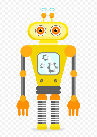 Yellow Cheerful Cartoon Robot Character With Two Antennas and Plot. Isolated vector robot on transparent background. Illustration
