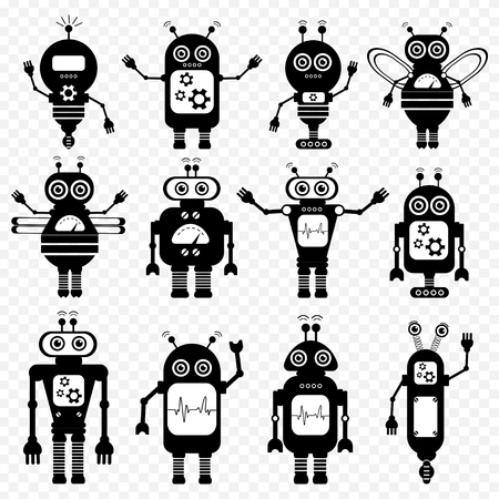 Set of vector robots in cartoon style. Isolated vector robots in transparent background. Black and White Design. Illustration