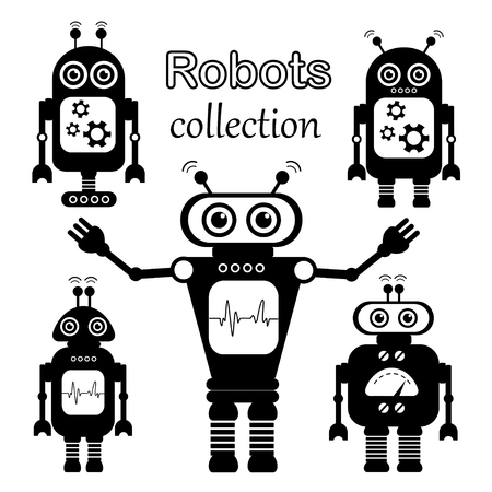 stuff toys: Set of vector robots in cartoon style. Isolated vector robots in a white background. Blac and White Design.