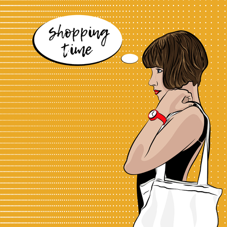 Pop Art Woman With Ecobag. Shopping Time vector illustration.