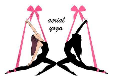 Aerial yoga. Yoga logo template design. Vector illustration Illustration