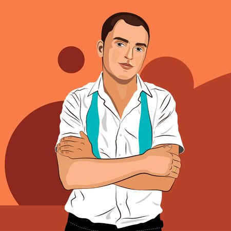 Elegant young man weared in a white shirt and a tie. Realistic hand drawn vector illustration.