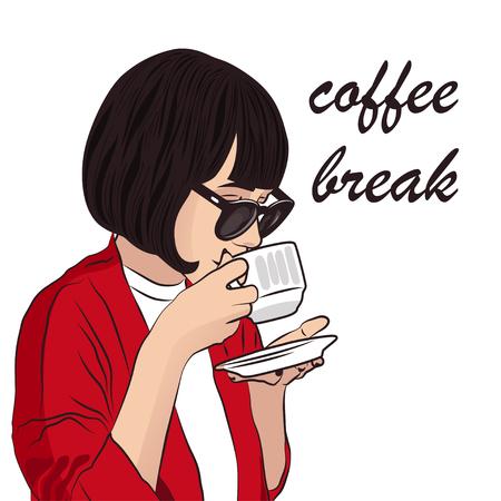 Girl with cup of coffee on white background. Coffee break vector illustration 向量圖像