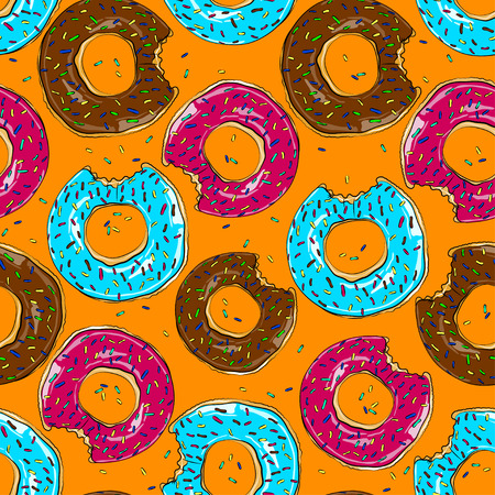 Tasty bake donuts. Seamless food background vector.
