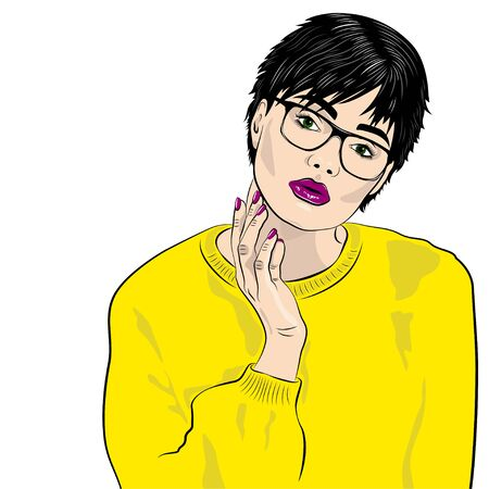 Sexy thoughtful fashion woman in sweatshirt with glasses on white background. Illustration