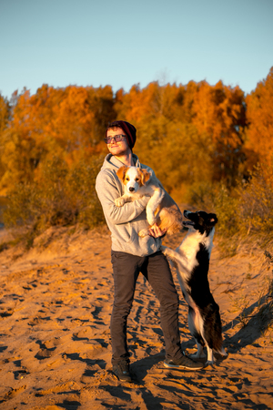 portrait of happy man with two funny border collie dog on beach at seaside. autumn yellow forest on background Imagens