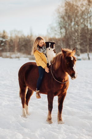 Young happy cute smiling woman with her dog border collie sit on horse in snow field on sunset. yellow dress