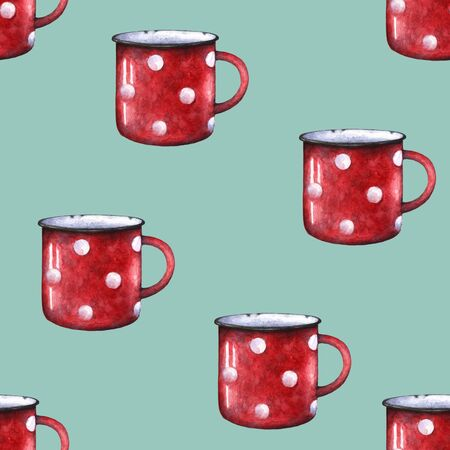 Watercolor red enamel polka dot mug cup seamless pattern. Isolated on white background. Retro vintage style. Hand drawn fabric print wrapping paper.Vintage repeating print design Zdjęcie Seryjne