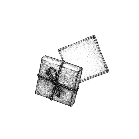 Hand drawn beautiful vintage ink illustration of opened present box . Black and white version. Pointillism style, Isolated on white background. Top view