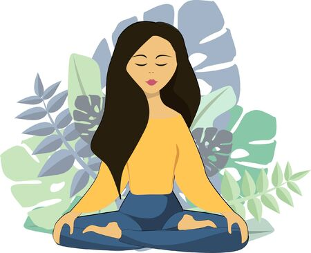 Woman is meditating. Vector illustration Illustration