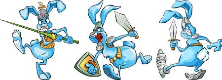 Cartoon set of cheerful blue rabbits-knights in different poses Illusztráció