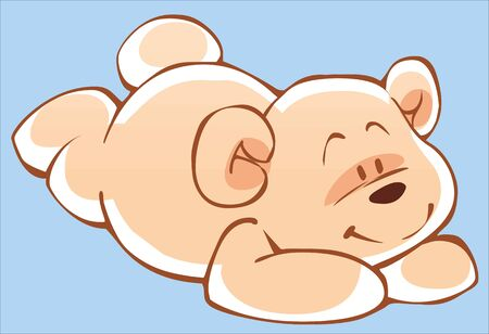 Cute cartoon Teddy bear lying on his stomach Illustration