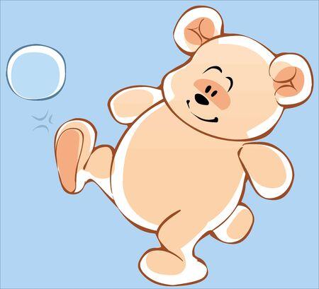 Cute cartoon Teddy bear playing with a ball Illustration