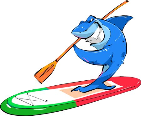 A shark with a paddle is traveling on a SUP Board