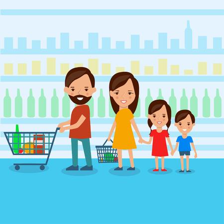 supermarket shopper: Family at the supermarket flat style illustration Illustration
