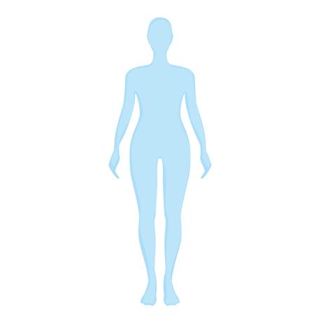 blau weiblichen Silhouette auf einem weißen Hintergrund.