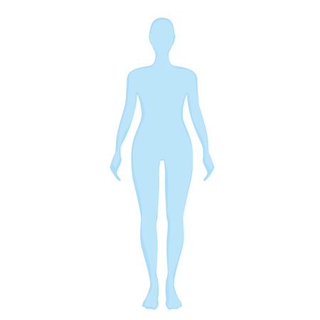 medicine chest: blue female silhouette on a white background.