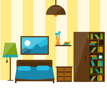 dresser: Bedroom interior in flat style illustration. there are bed, dresser.