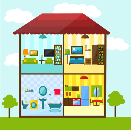 Cross-section of house in flat style illustration. Bathroom, living room, kitchen, bedroom