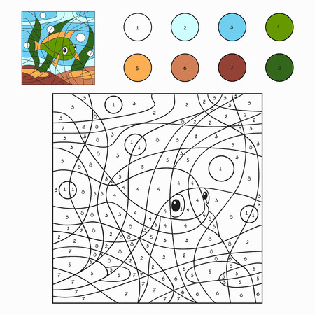 Color by number (fish) Vector