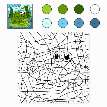 Color by number (frog) Vector